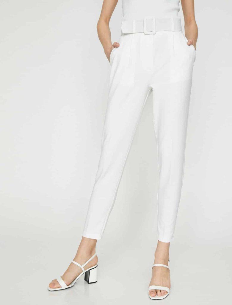 beyaz koton pantolon