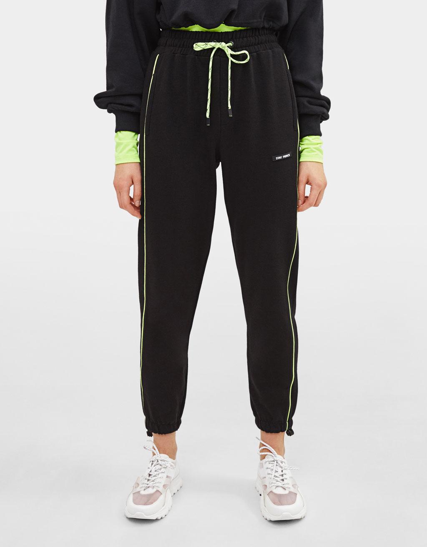bershka yandan seritli jogger pantolon
