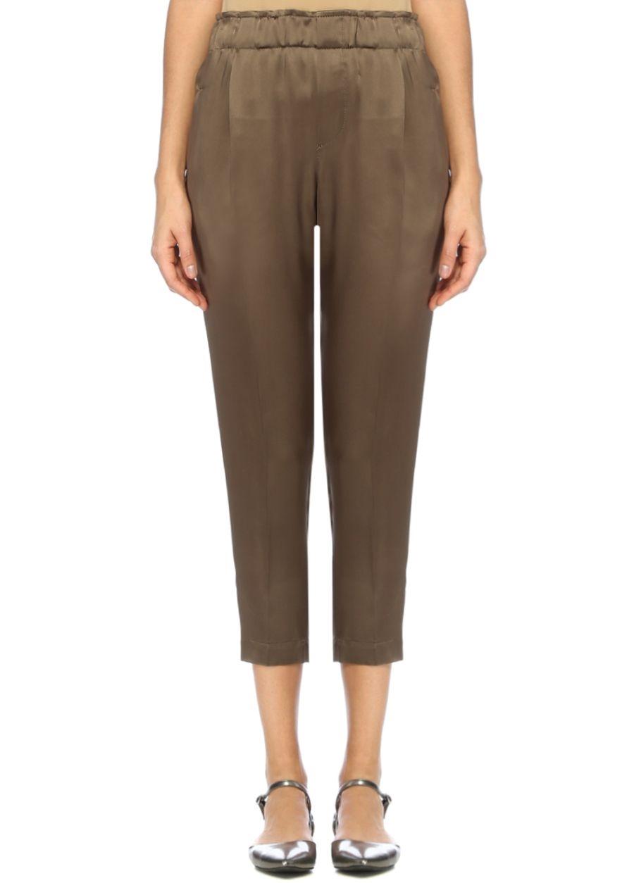 brunello cucinelli, yesil yuksek bel pantolon