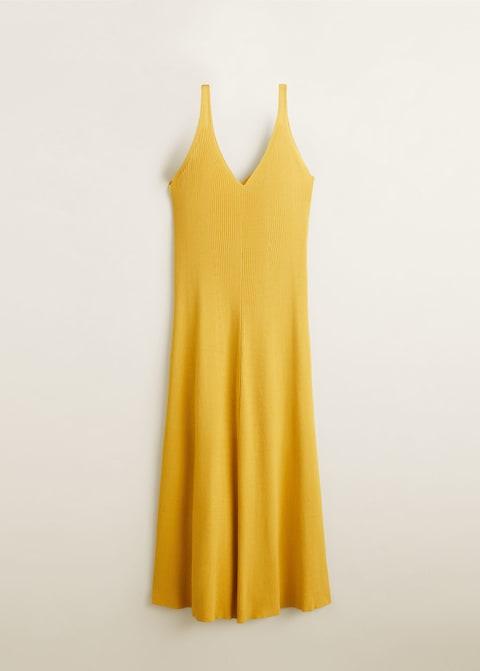 mango, lastikli midi elbise