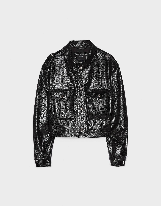 timsah derisi görünümlü ceket